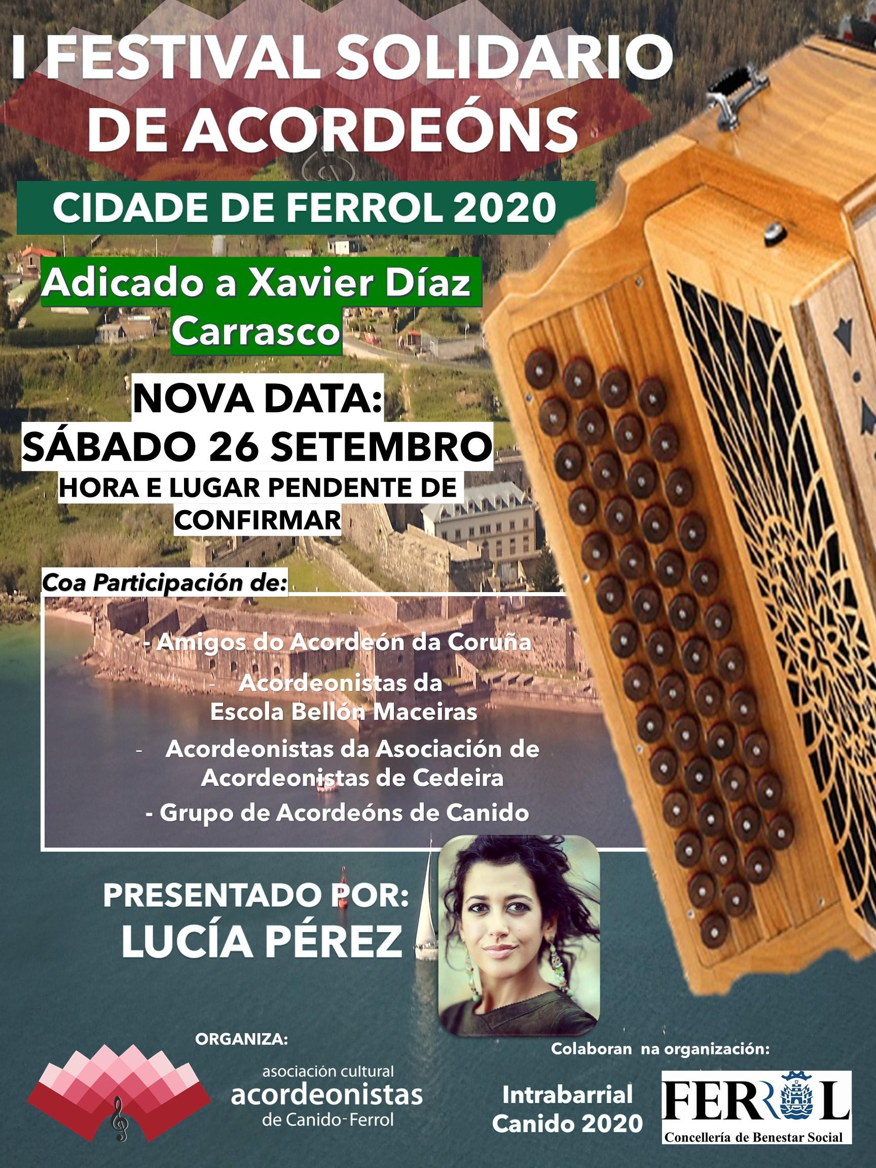Aprázase o I Festival de Acordeóns Cidade de Ferrol a Setembro, converténdose nun festival solidario.